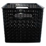 "Advantus Weave Bins, 10 1/2"" x 14 x 11 1/8, Plastic, Black, 2 Bins (AVT40328)"