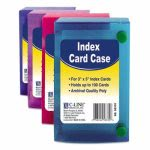 Index Card Case, Holds 100 3 x 5 Cards, Polypropylene, Assorted (CLI58335)