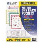 c-line-reusable-dry-erase-pockets-9-x-12-5-assorted-colorspack-cli40630
