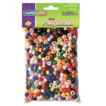 Chenille Kraft Pony Beads, Plastic, Assorted Colors, 1,000 Beads (CKC3552)