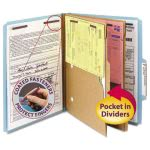 Pressboard Folders w/ 2 Pocket Dividers, 6 Section, Blue, 10 per Box (SMD14081)