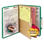 Pressboard Folders w/ 2 Pocket Dividers, 6-Section, Green, 10/Box (SMD14083)