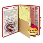 Smead Pressboard Folders, 2 Pocket Dividers, 6 Section, Red, 10/Box (SMD14082)