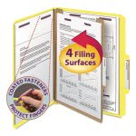 Smead Pressboard Folders, Letter, 4-Section, Yellow, 10 per Box (SMD13734)