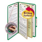 Smead Pressboard Folders, Legal, 6 Section, Green, 10/Box (SMD19033)