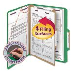 Smead Pressboard Folders, Letter, Four-Section, Green, 10 per Box (SMD13733)