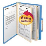 Smead Top Tab Folders, Two Dividers, Six-Sections, Blue, 10 per Box (SMD14001)