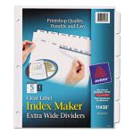 Avery Index Maker Clear Label Dividers, 5-Tab, 11 1/4 x 9 1/4, White (AVE11438)