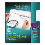 Avery Index Maker Clear Label Dividers, 8-Tab, Letter, White, 5 Sets (AVE11437)