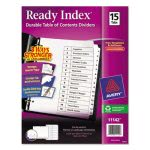 Avery Ready Index Tab Titles, 15-Tab, 1-15, Black/White, 15 per Set (AVE11142)