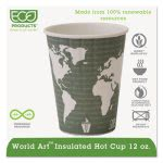 Insulated Compostable Hot Cups, 12 oz., Green, 600/Carton (ECOEPBNHC12WD)
