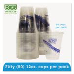 Recycled Content 12-oz. Clear Plastic Cold Drink Cups, 50 Cups (ECOEPCR12PK)