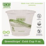 9-oz. GreenStripe Compostable Plastic Cold Cup, 1,000 Cups (ECP EP-CC9S-GS)