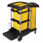 Rubbermaid 9T73 Hygen Microfiber Cleaning Cart w/Vinyl Bag, Black (RCP9T73)
