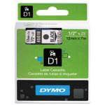 "Dymo D1 Label Maker Standard Tape Cartridge, 1/2"" x 23', Black/Clear (DYM45010)"