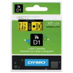 "Tape Cartridge for Dymo Label Makers, 1/2"" x 23', Black on Yellow (DYM45018)"