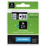 "Tape Cartridge for Dymo Label Makers, 1/4"" x 23', Black on White (DYM43613)"
