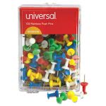 universal-colored-push-pins-plastic-rainbow-38-100pack-unv31310