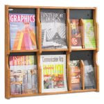 safco-magazinepamphlet-6-pocket-display-medium-oak-saf5703mo