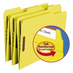Smead Folders, 2 Fasteners, 1/3 Cut Top Tab, Letter, Yellow, 50/Box (SMD12940)