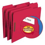 Smead Folders, Two Fasteners, 1/3 Cut Assorted, Letter, Red, 50/Box (SMD12740)
