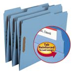 Smead Folders, 2 Fasteners, 1/3 Cut Assorted, Letter, Blue, 50/Box (SMD12040)
