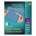 Avery Index Label Punched Dividers, Multicolor 5-Tab, 5 Sets per Pack (AVE12452)