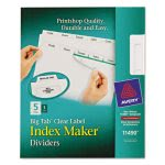 Avery Index Maker with Big Tab, 11x8-1/2, 5-Tab, White (AVE11490)