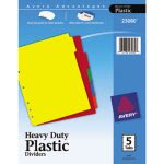 Avery Plastic Index Dividers w/Self-Stick Labels, Letter, 5 Dividers (AVE23080)
