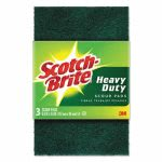 "Scotch-brite Heavy-Duty Scour Pad, 3.8w x 6""L, Green, 3/Pack (MMM22310)"
