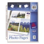 Avery Photo Pages for Six 4 x 6 Mixed Photos, 3-Hole Punched, 10/Pack (AVE13401)