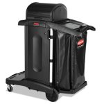 rubbermaid-1861427-high-security-janitorial-cleaning-cart-black-rcp1861427