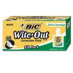 Bic Wite-Out Extra Coverage Correction Fluid, 12 Bottles (BICWOFEC12WE)