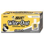 Bic Wite-Out Quick Dry Correction Fluid, 20 ml Bottle, 12/Pack (BICWOFQD12WE)