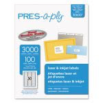 Avery Pres-A-Ply Laser Address Labels, 1 x 2-5/8, White, 3000/Box (AVE30600)