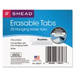 Smead Erasable Hanging Folder Tabs, 1/3 Tab, 3 1/2 Inch, White, 25/PK (SMD64627)