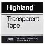 "Highland Transparent Tape, 1/2"" x 1296"", 1"" Core, Clear (MMM5910121296)"