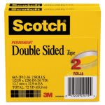"Scotch 665 Double-Sided Tape, 1/2"" x 1296"", Transparent, 2 Rolls (MMM6652P1236)"