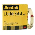 "Scotch Double Sided Office Tape, 1/2"" x 36 yards, 3"" Core, Clear (MMM665121296)"