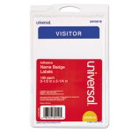 "Universal ""Visitor"" Self-Adhesive Name Badges, White/Blue, 100 Badges (UNV39110)"