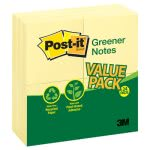 Post-it Recycled Note Pads, 3 x 3, Yellow, 24 - 100 Sheet Pads (MMM654RP24YW)