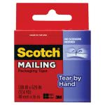 "Scotch Tear-By-Hand Packaging Tape, 1.88"" x 17.5 yds, 1-1/2"" Core (MMM3841)"