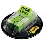 "Post-it Flags Flags, ""Sign & Date"", Green, 200 Flags/Dispenser (MMM680HVSD)"