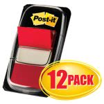 Post-it Flags in Dispensers, Red, 12 - 50 Flag Dispensers (MMM680RD12)