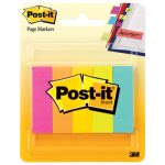 Post-it Page Markers, Assorted Bright Neon Colors, 5 Pads (MMM6705AN)