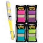 Post-it Flags Value Pack w/Highlighter, Assorted Colors (MMM680PPBGVA)