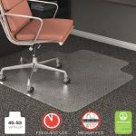 Deflect-o RollaMat Studded Beveled Mat for Medium Pile Carpet, 45w x 53l, Clear (DEFCM15233)