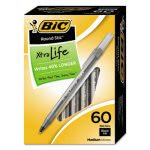 Bic Round Stic Ballpoint Pen, Blk Ink, Medium Point, 1mm, 60 /BX (BICGSM609BK)