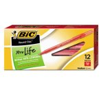 Bic Round Stic Ballpoint Stick Pen, Red Ink, Medium, Dozen (BICGSM11RD)