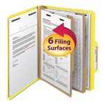 Smead Classification Folders, Two Dividers, 6 Section, Yellow, 10/Box (SMD14004)